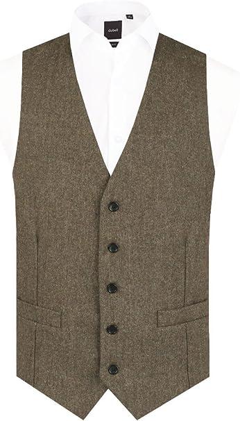 Dobell Herren Donegal Tweed Weste, Hellbraun 4XL (147 152cm