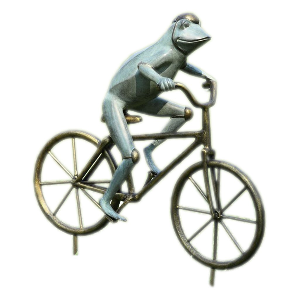 SPI Home Bronze Finish Frog on Bicycle Metal Garden Statue by SPI Home