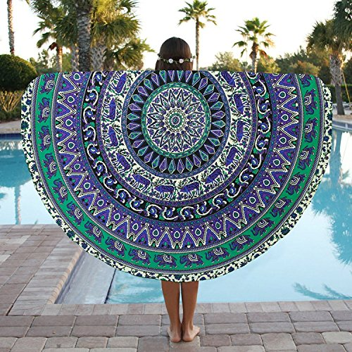 Round Beach Towel Elephant Mandala Roundie Beach Throw Tapestry Hippy Boho Gypsy Cotton Tablecloth Round Yoga Mat by Jaipur Handloom (Elephant Beach)