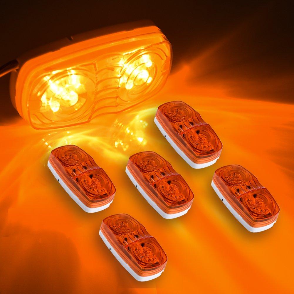 Catinbow 5 Pcs LED Marker Light 4 Bullseye Super Bright 10 Diodes Amber Side Marker Light Waterproof Trailer Marker light for Truck RV Boat 12V