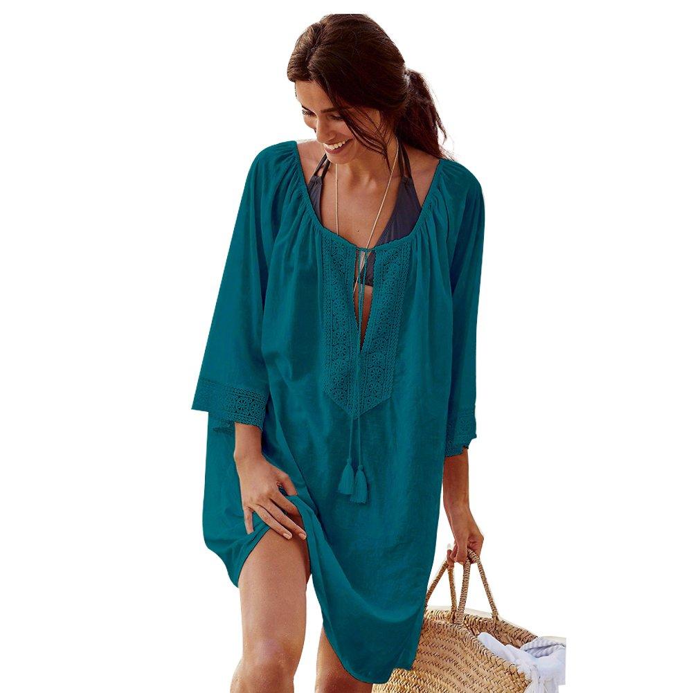 Landove Vestido de Playa Encaje V-Cuello Traje Ropa de Baño para Mujeres Camiseta Manga Murcielago Boho Hippie Camisolas y Pareos Bikini Cover Up Tunica Talla Grande L-ZS-ST03-HL-E