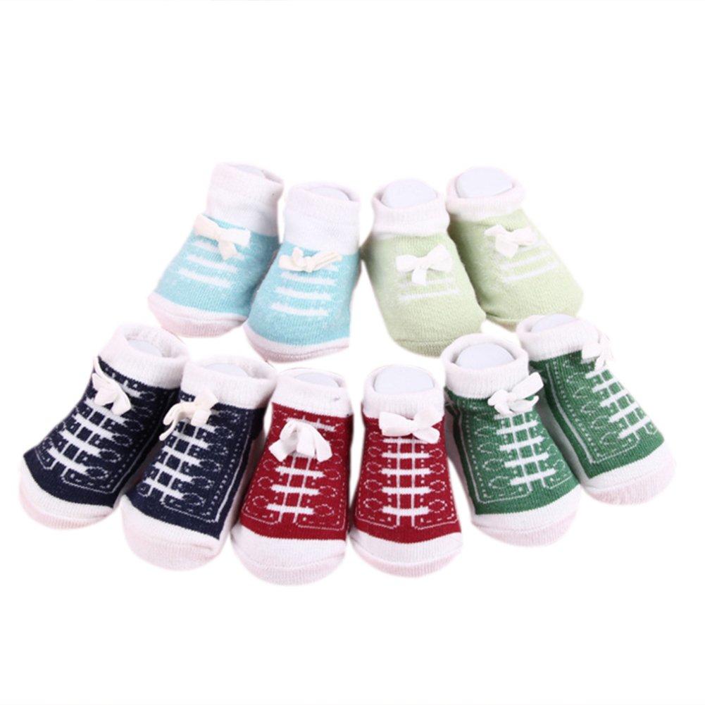 Calcetines lindos del tobillo del bebé recién nacido para 0-6 meses Calcetines unisex del algodón de los muchachos de las niñas bebé 5 pares / set: ...
