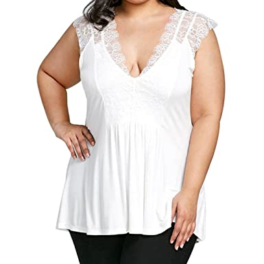 ed49c82adeeb19 Inverlee Womens Plus Size Sexy Lace Patchwork Sleeveless Vest Blouse Casual  Loose Summer Tees Shirt Tank Tops at Amazon Women s Clothing store
