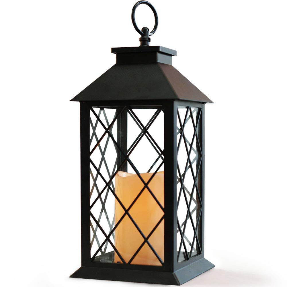 "Bright Zeal 14"" Tall Black Vintage Candle Lantern with LED Flickering Flameless Candles and Timer (Batteries Included) - Candle Lanterns Decorative - Indoor Outdoor Hanging Lights - Candles & Holders"