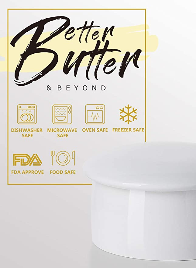 Porcelain Butter Crock, French Butter Keeper - Fresh Soft Butter without Refrigeration, White - Better Butter & Beyond