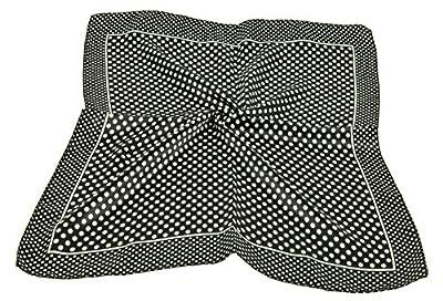"DGFA INC 19.5"" Ladies Neckerchief Silk Like Small Square Scarf Gift Idea (White Polka Dot Black Scarf)"