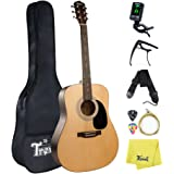 Trendy Acoustic Guitar 41inch Steel String Acoustic Guitar Kit Bundle with Gig Bag, Tuner, Strings, Guitar Strap, Picks, Capo and Polishing Cloth (41inch Acoustic Guitar-Natural)