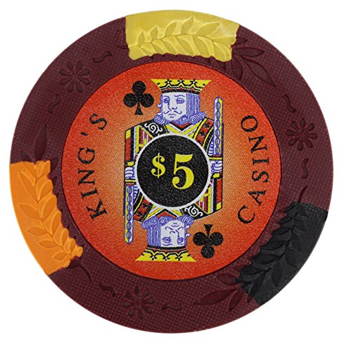 Brybelly King's Casino Premium Poker Chip 14-gram Heavyweight Clay Composite - Pack of 50 ($5 Red)