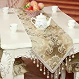 Table Runners european-style fabric table runner dining table tea table slip table runner simple bed flag embroidered insulated table flag-A 35x220cm(14x87inch)
