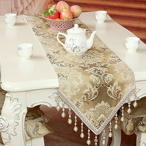 Table Runners european-style fabric table runner dining table tea table slip table runner simple bed flag embroidered insulated table flag-A 35x220cm(14x87inch) by LIANGXIAOJIE