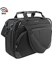 KROSER Laptop Bag 15.6 Inch Laptop Briefcase Laptop Messenger Bag Water Repellent Computer Case Laptop Shoulder Bag Durable Tablet Sleeve with RFID Pockets for Business/College/Women/Men-Black/Blue