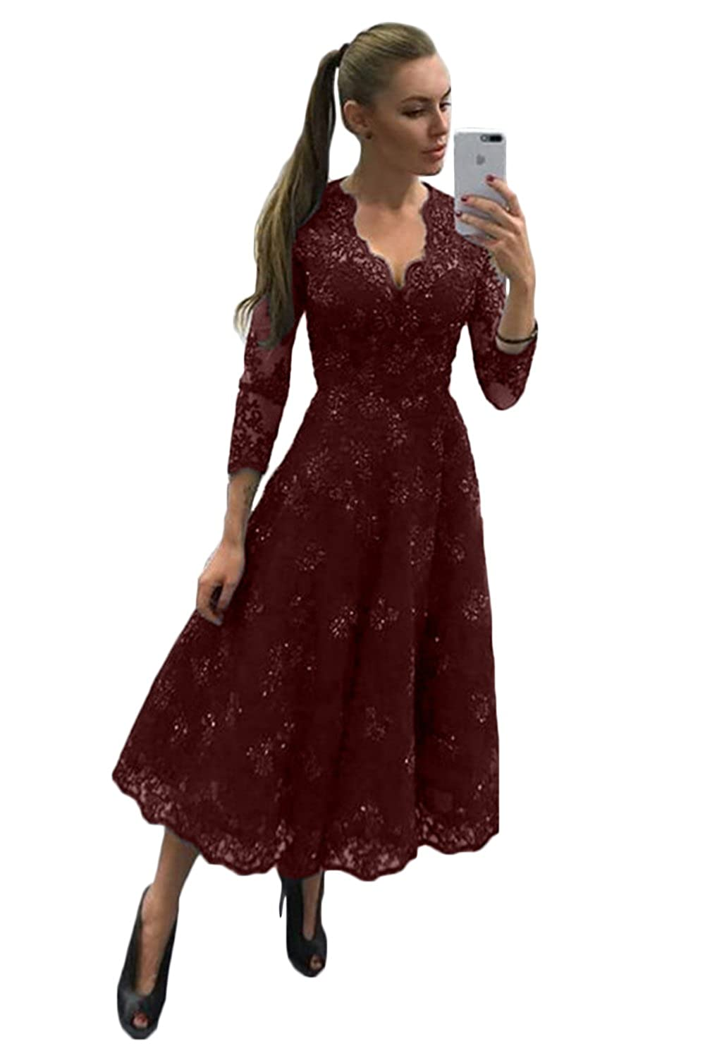Burgundy CL Bridal Women's Crystals Lace Illusion Long Sleeve VNeck Mother Bridesmaid Dress Prom Gown