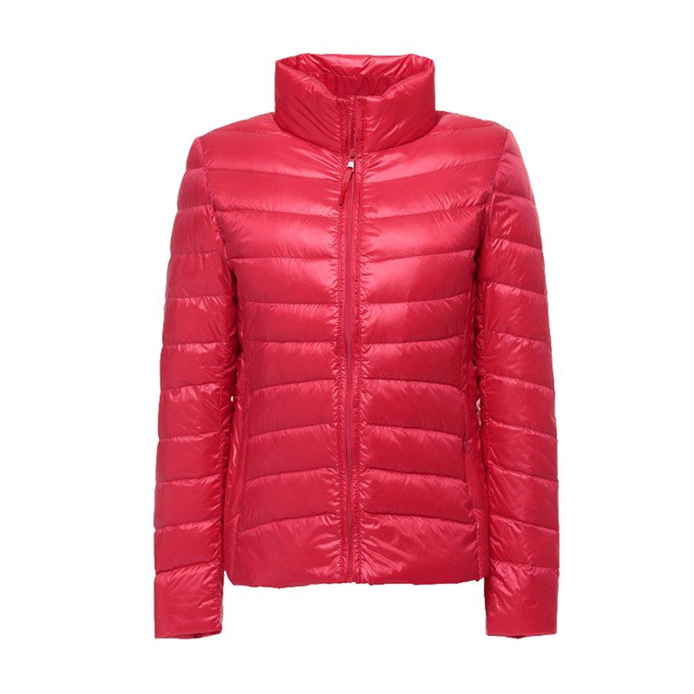 Yiiquan Damen Daunenjacke Packbar Ultra Leicht Gewicht Winter Wärm Kälteschutz Daunenmantel Stehkragen