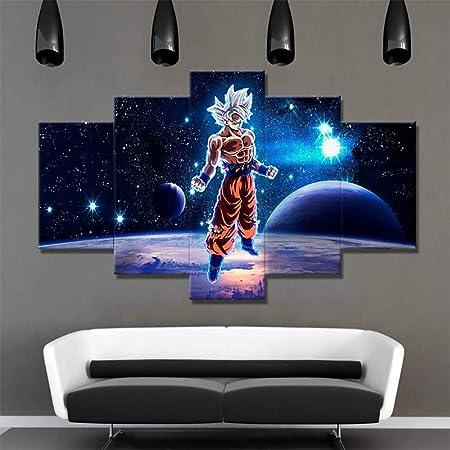 XLST 5 Unidades de Dibujos Animados Dragon Ball Z Goku Pinturas Impresiones HD Super Saiyan Poster Lienzo Arte de la Pared Imágenes Salón Decoración,B,20x35x2+20x45x2+20x55x1: Amazon.es: Deportes y aire libre
