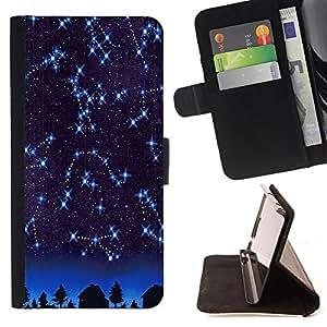- Constellation Space - - Estilo PU billetera de cuero del soporte del tir¨®n [solapa de cierre] Cubierta FOR Sony Xperia Z2 D6502 Retro Candy