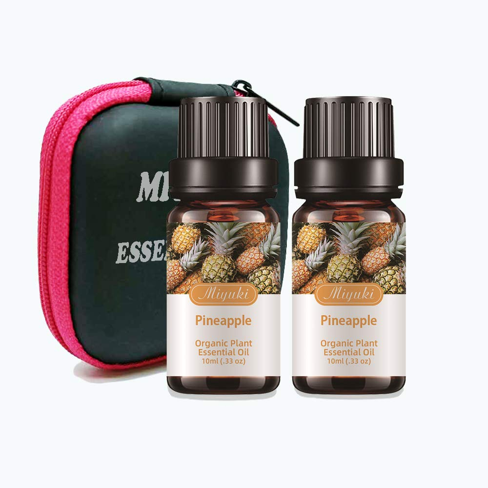 Miyuki 2Pack Pineapple Essential Oils Organic Plant & Natural 100% Pure Therapeutic Grade Pineapple Aromatherapy Oil for Diffuser, Humidifier, Massage, Sleep, Bath, SPA, Skin & Hair Care-2x10ml