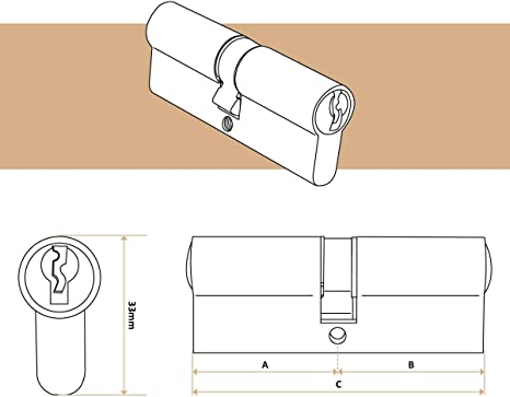 T/ürschloss Zylinderschloss Profilzylinder Schlie/ßzylinder inkl 3 Schl/üsseln 40 x 50mm