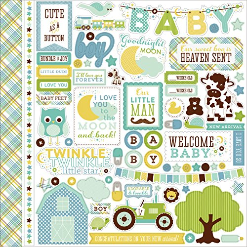Echo Park Paper Bundle of Joy/A New Addition Baby Boy Element Cardstock Stickers, 12