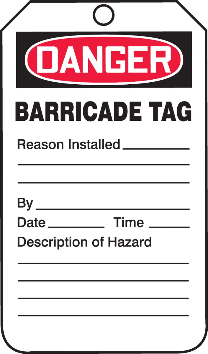 Accuform TAB104CTP Barricade Status Tag, Legend''DANGER BARRICADE TAG'', 5.75'' Length x 3.25'' Width x 0.010'' Thickness, PF-Cardstock, Red/Black on White (Pack of 25) by Accuform (Image #1)