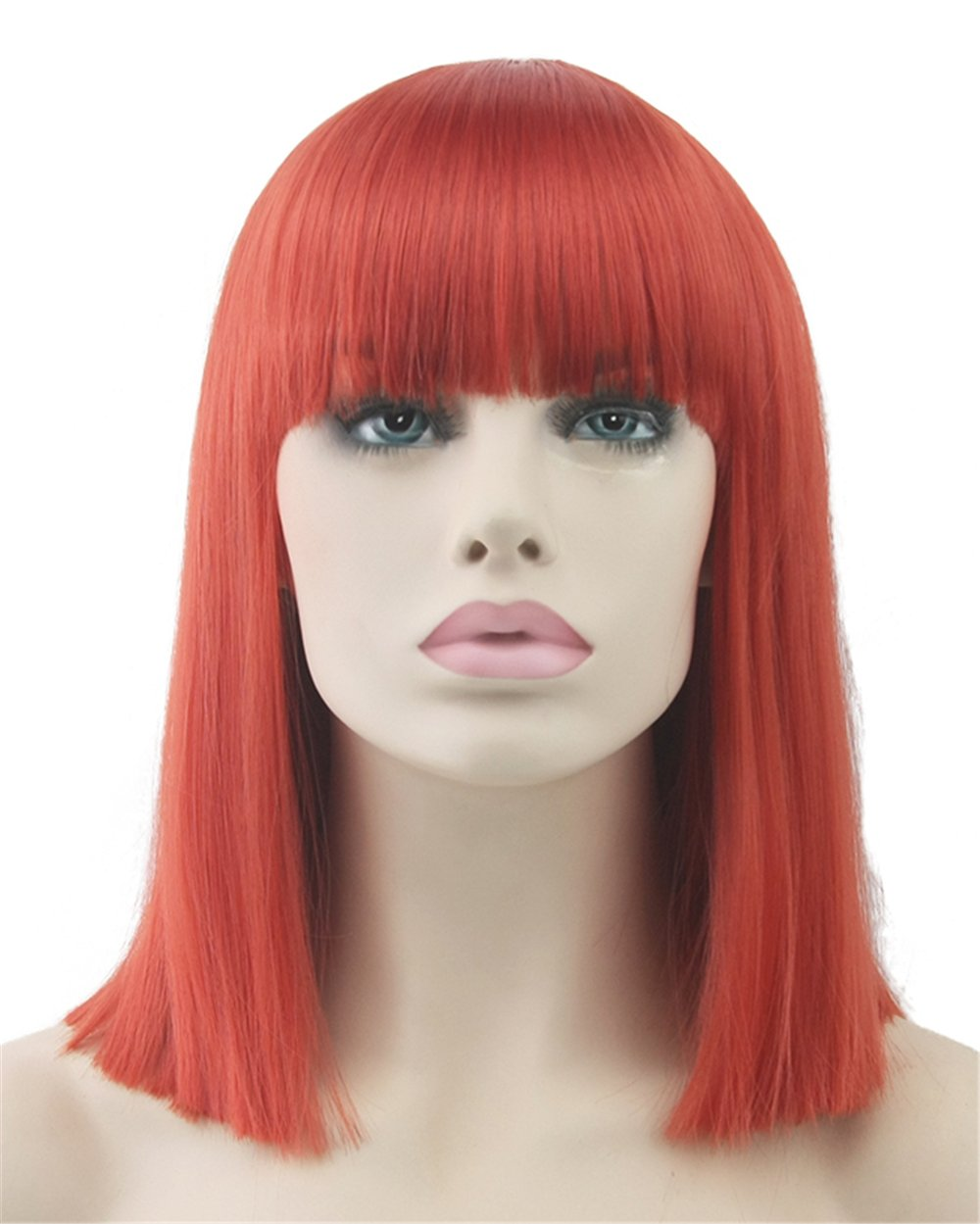 USIX 13.5'' / 35cm Synthetic Fiber Straight Bob Hair with Bangs Cosplay Wig (Red)