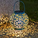 Solar Lantern Lights,Outdoor Hanging Garden Lights Metal Lamp for Patio,Outside or Table