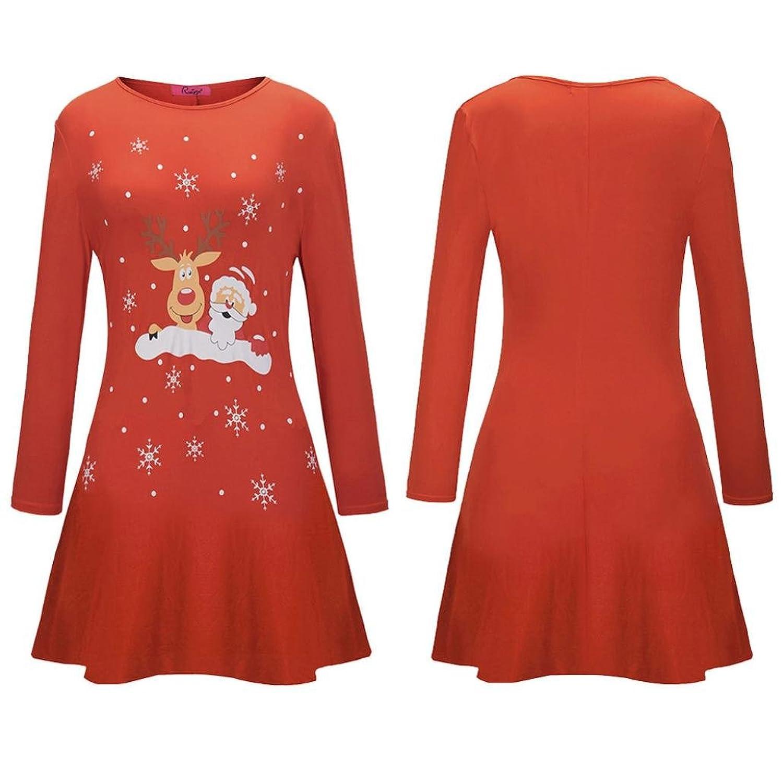 Winwintom Femmes Robe imprimée de Noël Robe à manches longues pour ... f95ad95e3d8