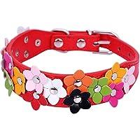 Generic 1 Stück Einstellbare PU-Lederhalsband Halskette für kleine oder mittlere Hunde Katzen Blume Nette Halskette -Rot