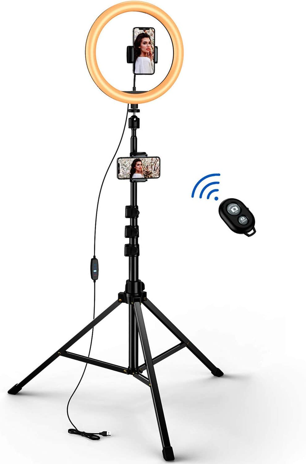 """10.2"""" Selfie Ring Light Kit, GUSGU Adjustable Dimmable LED Circle Light with Extendable Tripod Stand, 2 Phone Holders, Bluetooth Wireless Remote Shutter for Camera/Makeup/YouTube/Photography/Video …"""
