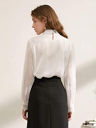 Blusas Y Camisas para Mujer Nuevo Encaje Calado Blusa Camisa De Gasa Mujer@S_ Blanco: Amazon.es: Ropa y accesorios