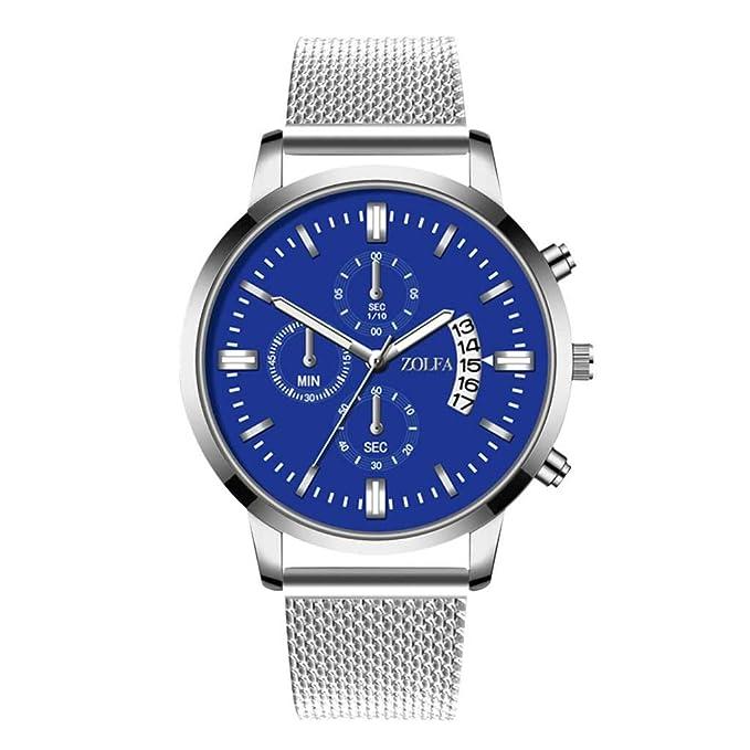 Amazon.com : XBKPLO Quartz Watches for Men Waterproof Luxury Sports Three Eyes Stainless Steel Mesh Belt Automatic Date Window Rose Gold Analog Wrist Watch ...