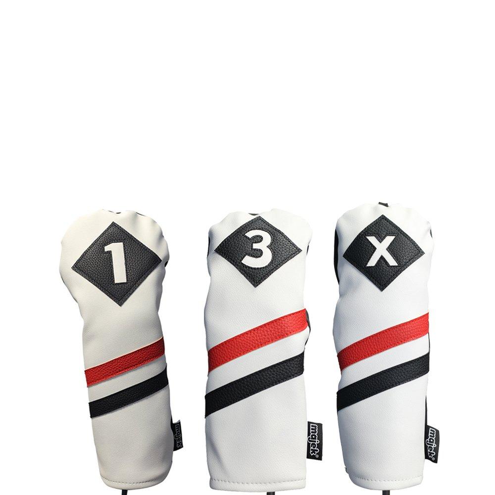 Majekレトロゴルフヘッドカバー3ホワイトレッドandブラックヴィンテージレザースタイル1 3 xドライバFairway WoodsヘッドカバークラシックLook   B077GH1RRS