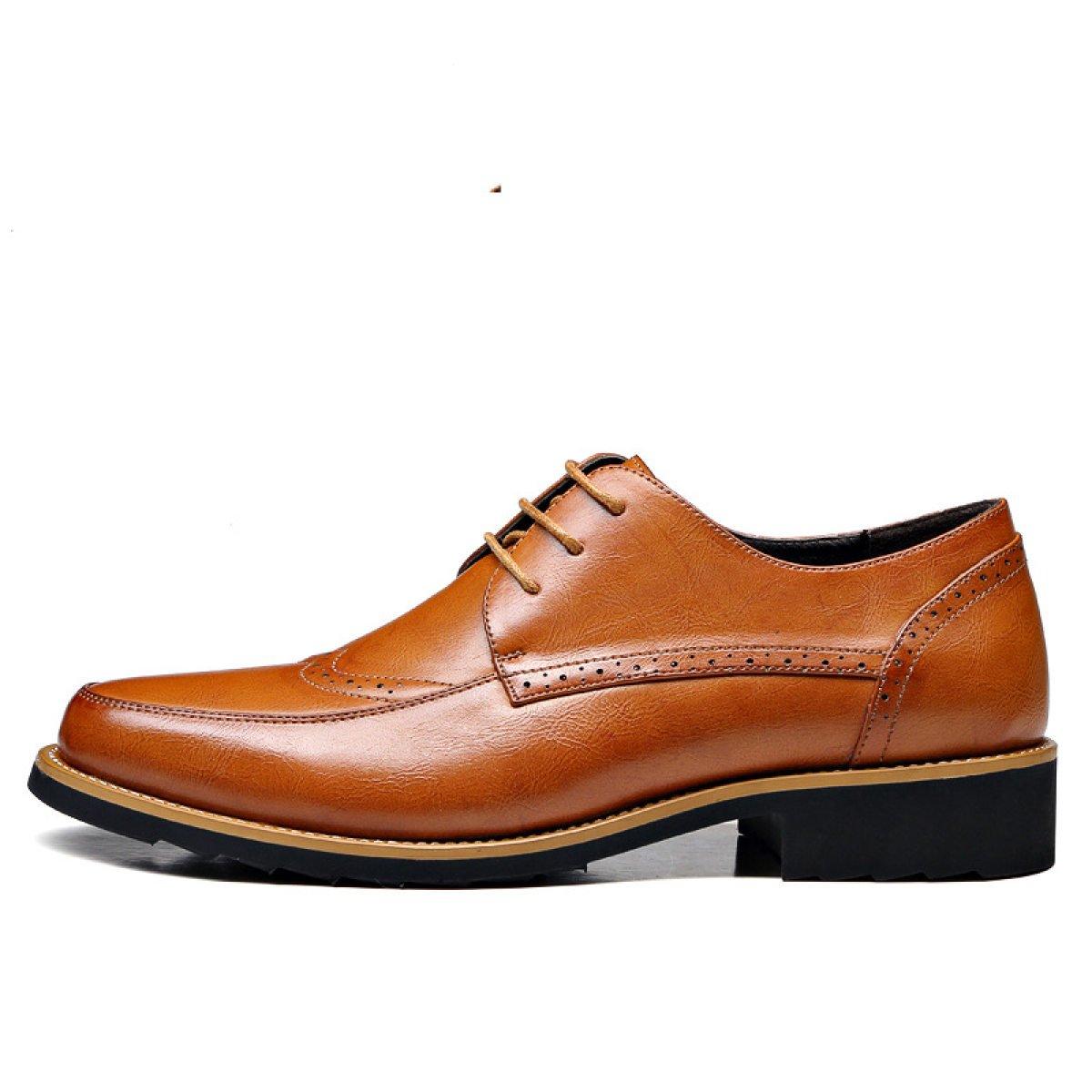 Herrenschuhe Retro Geschnitzt Leder Anzüge Yellow Freizeitschuhe England Atmungsaktive Schuhe Yellow Anzüge 46d000