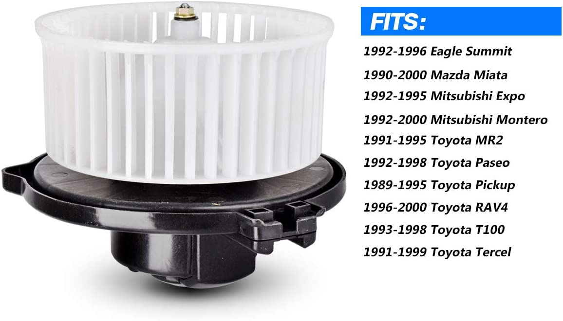 SCITOO Heater Blower Motor ABS Plastic w//Fan Motor fit 1990-2000 Mazda Miata 1992-2000 Mitsubishi Montero 1996-2000 Toyota RAV4 1991-1999 Toyota Tercel