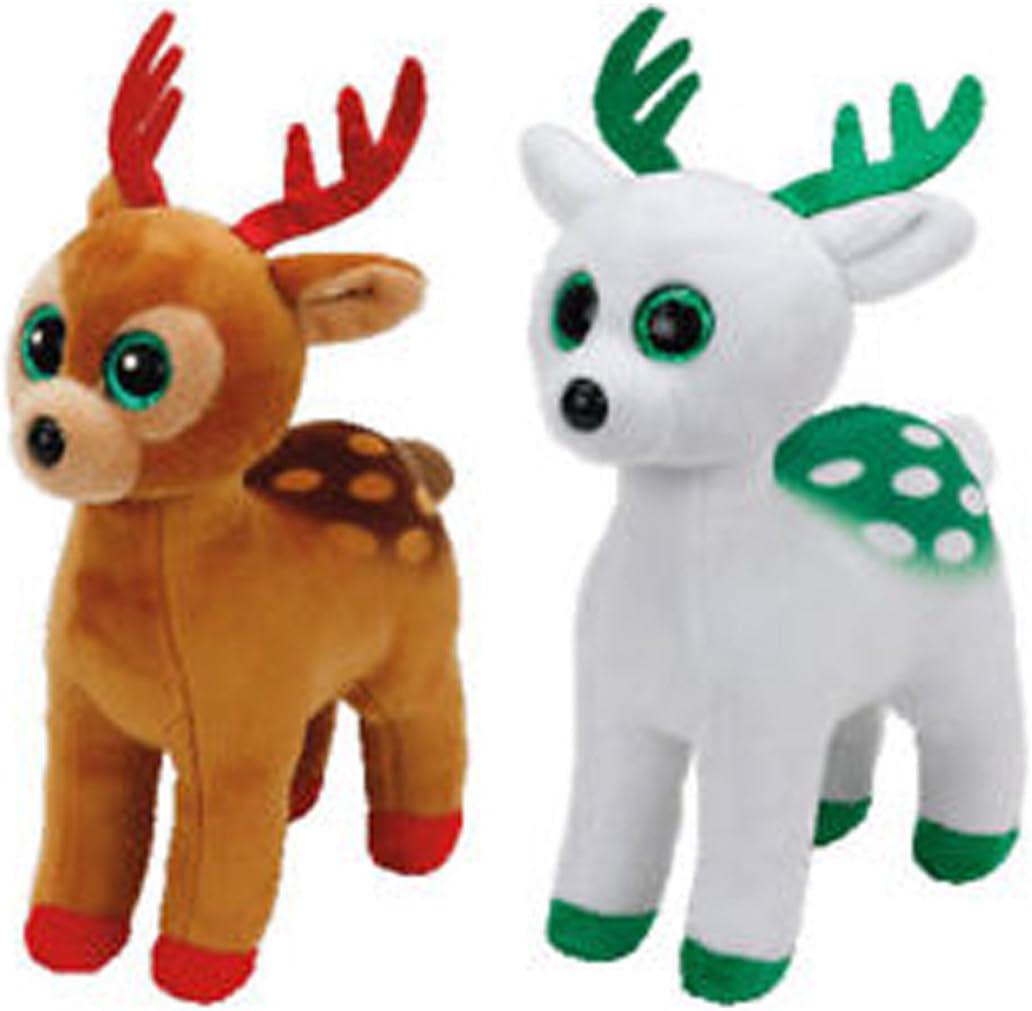 "Ty Beanie Boos Regular 6/"" Xmas Tinsel the Brown Reindeer Plush"