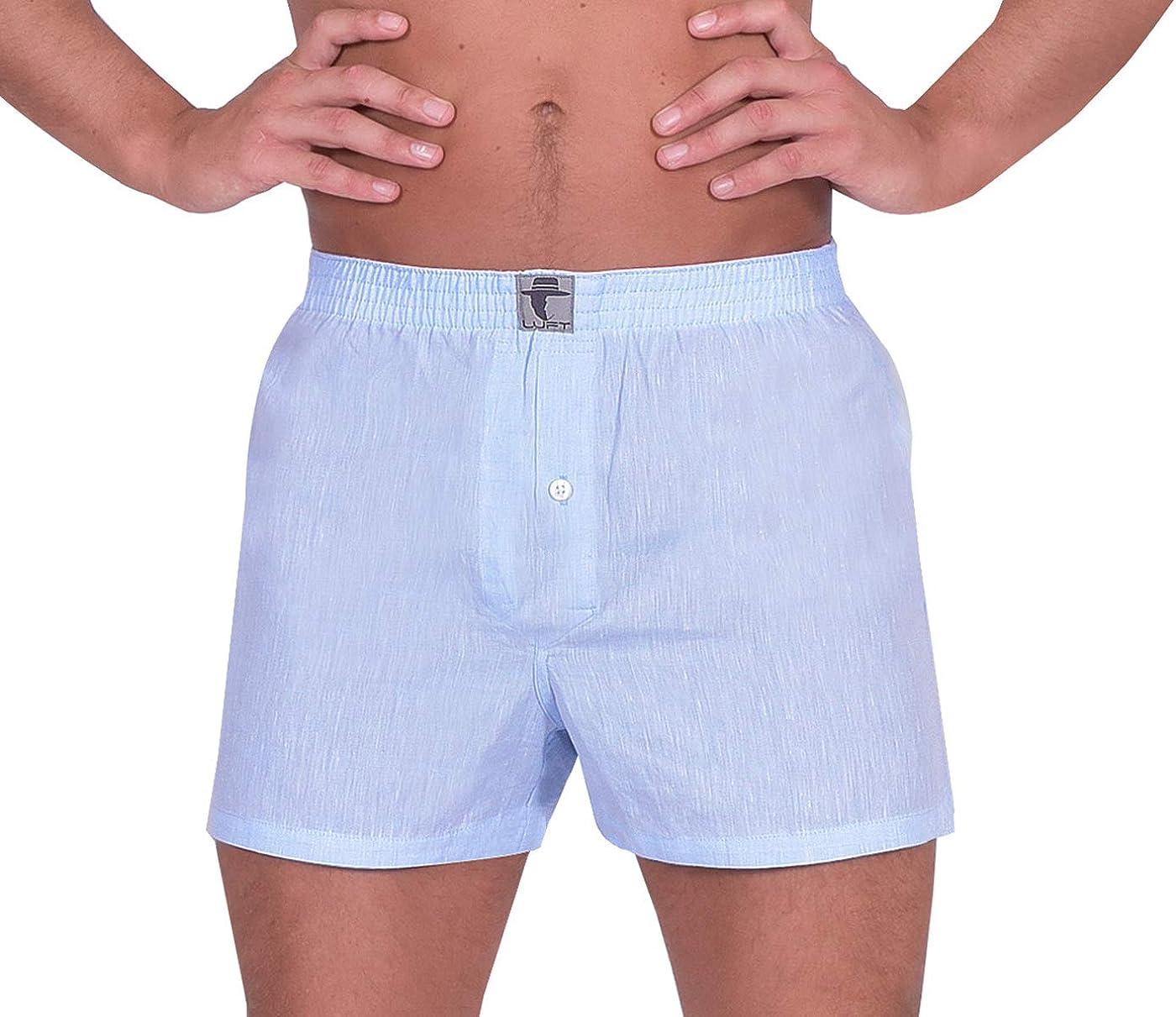 LUFT Mens Fine Linen Soft Stretch Elastic Waistband Underwear Boxer Shorts