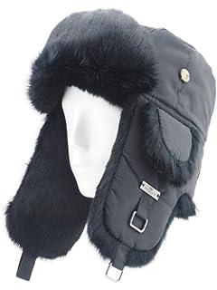 FUR WINTER Taslon Rabbit Fur Aviator Outdoor Trapper Trooper Pilot Ski Hat 0360d3b67231