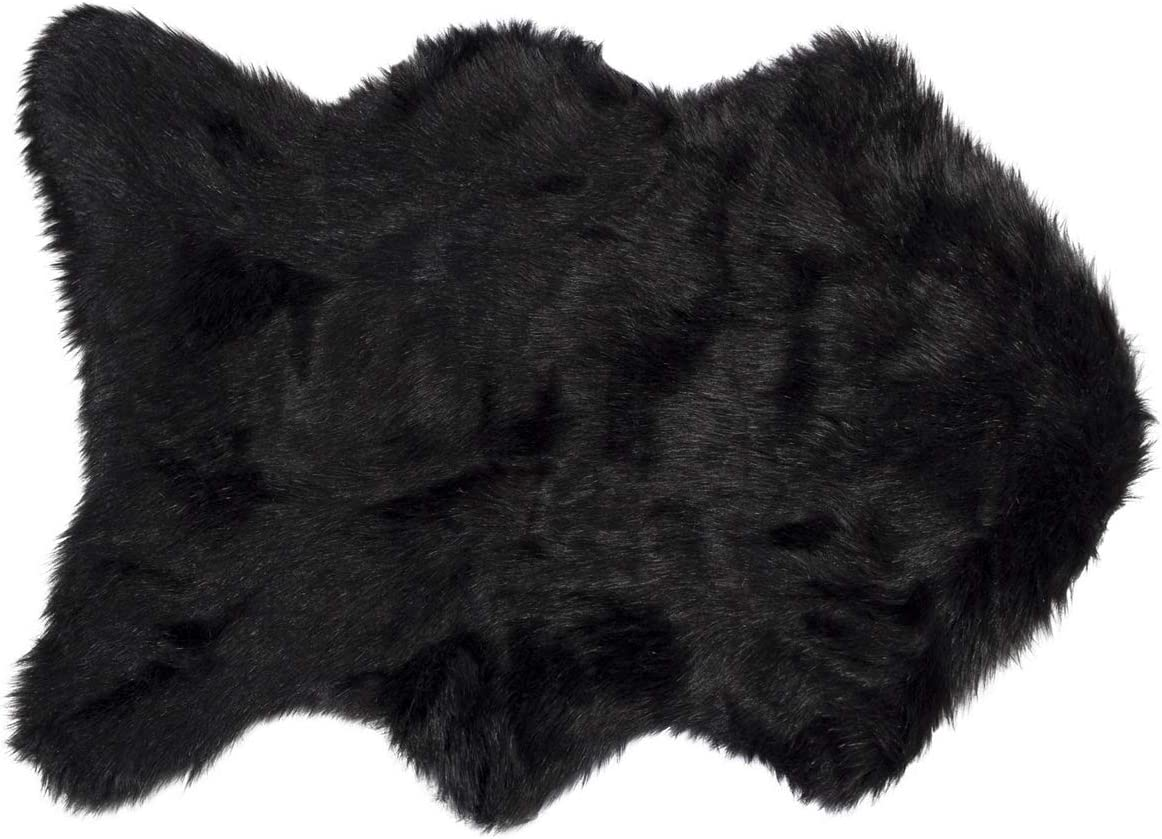 Luxe Thick Lush and Soft Pile 100 Animal-Free Gordon Sheepskin Faux Fur Area Rug, Black, 2 ft x 3 ft