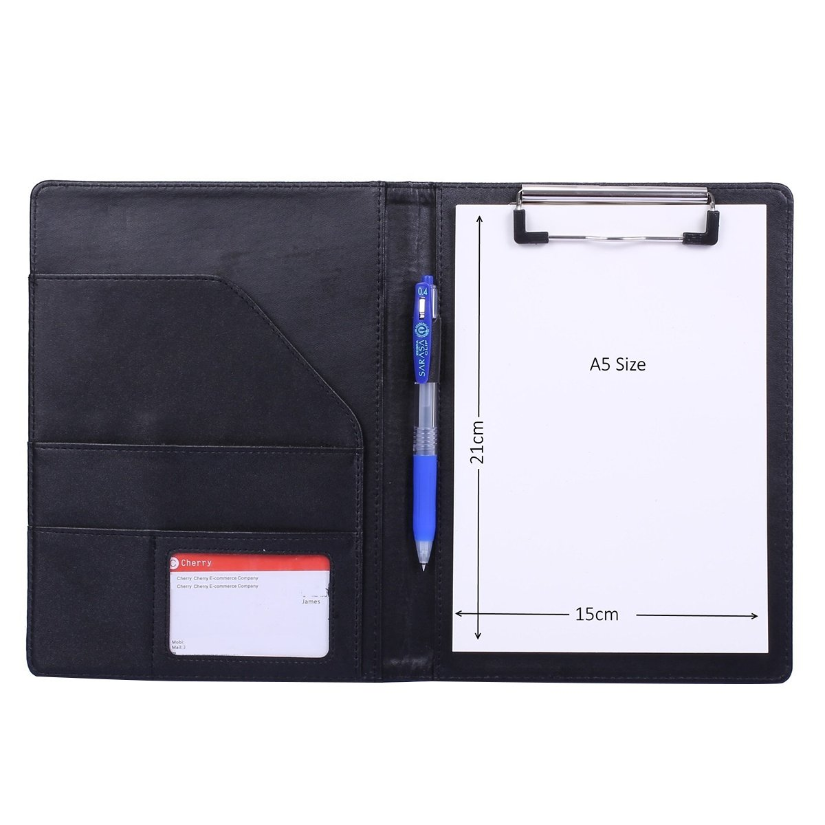 NUOLUX A5 PU Files Folder with Inside Storage Pocket for Files Organization(Black)
