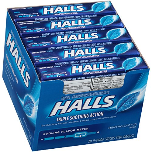 HALLS Cough Drops, (Mentho-Lyptus, 9 Drops, 20-Pack) Halls Mentho Lyptus Cough Suppressant