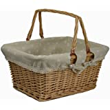 RURALITY Wicker Woven Picnic Basket with Double Folding Handles