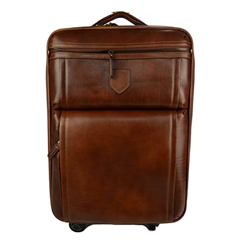 825104d6de7a Leather trolley travel bag weekender overnight leather bag with wheels dark brown  leather cabin luggage airplane