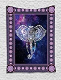 Ambesonne Animal Tapestry Decor, Elephant in a Frame on Outer Space Galaxy Stars Andromeda Background Art Print, Wall Hanging Bedroom Living Room Dorm, 40 W x 60 L inches, Mauve Purple