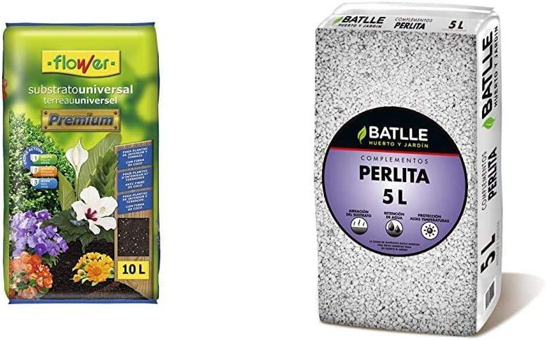 Flower Universal Premium Substrato, 10L, Marrón, 29x6x46 cm + Sustratos - Sustrato Perlita 5L - Batlle