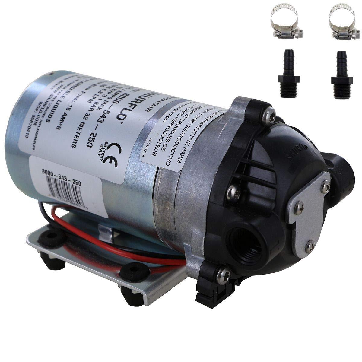 Shurflo 8000-543-250 Bypass 12V Diaphragm Pump with Male 3/8'' Hose Barb Kit (Bundle, 2 Items)