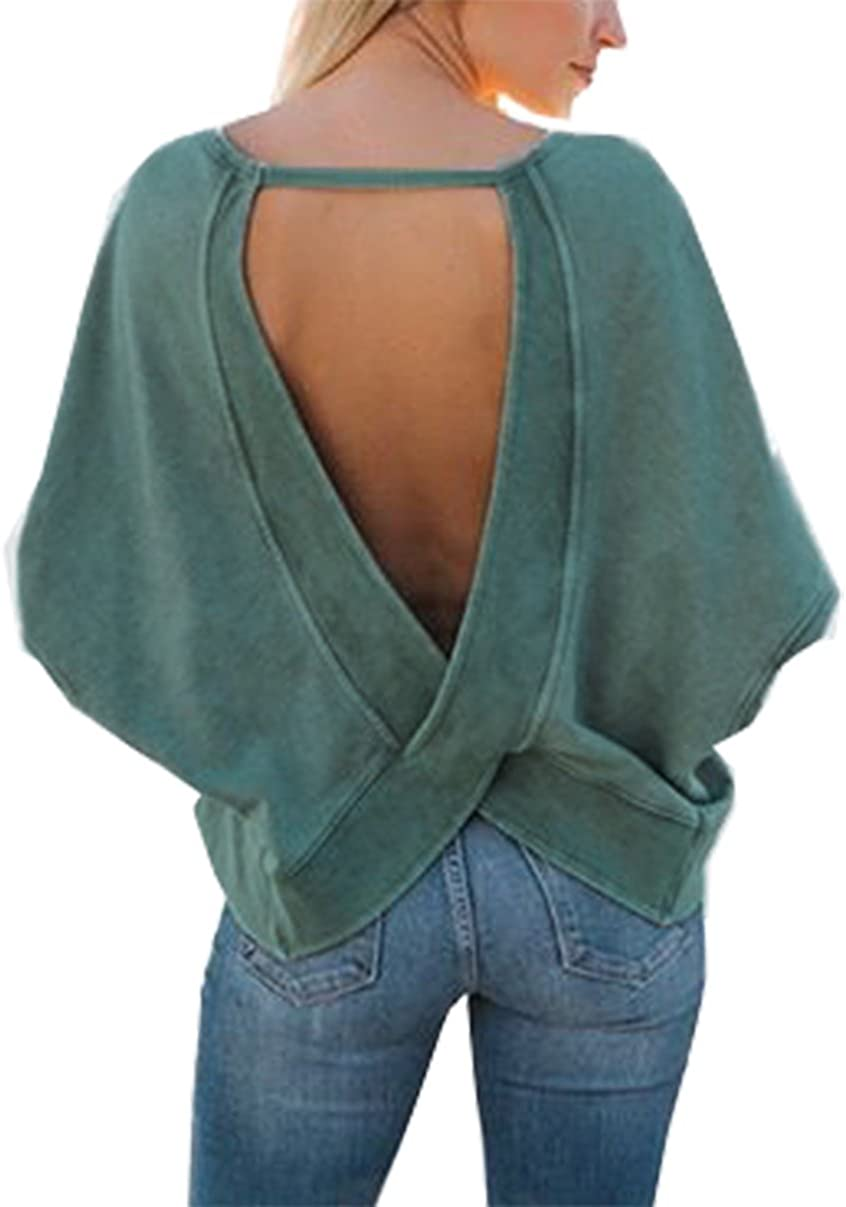 Udgwaz Damen Sweatshirt Rückenfrei Langarmshirts Herbst Winter Pullover übergrößen Oberteil Tops X Large Grün Amazon De Bekleidung