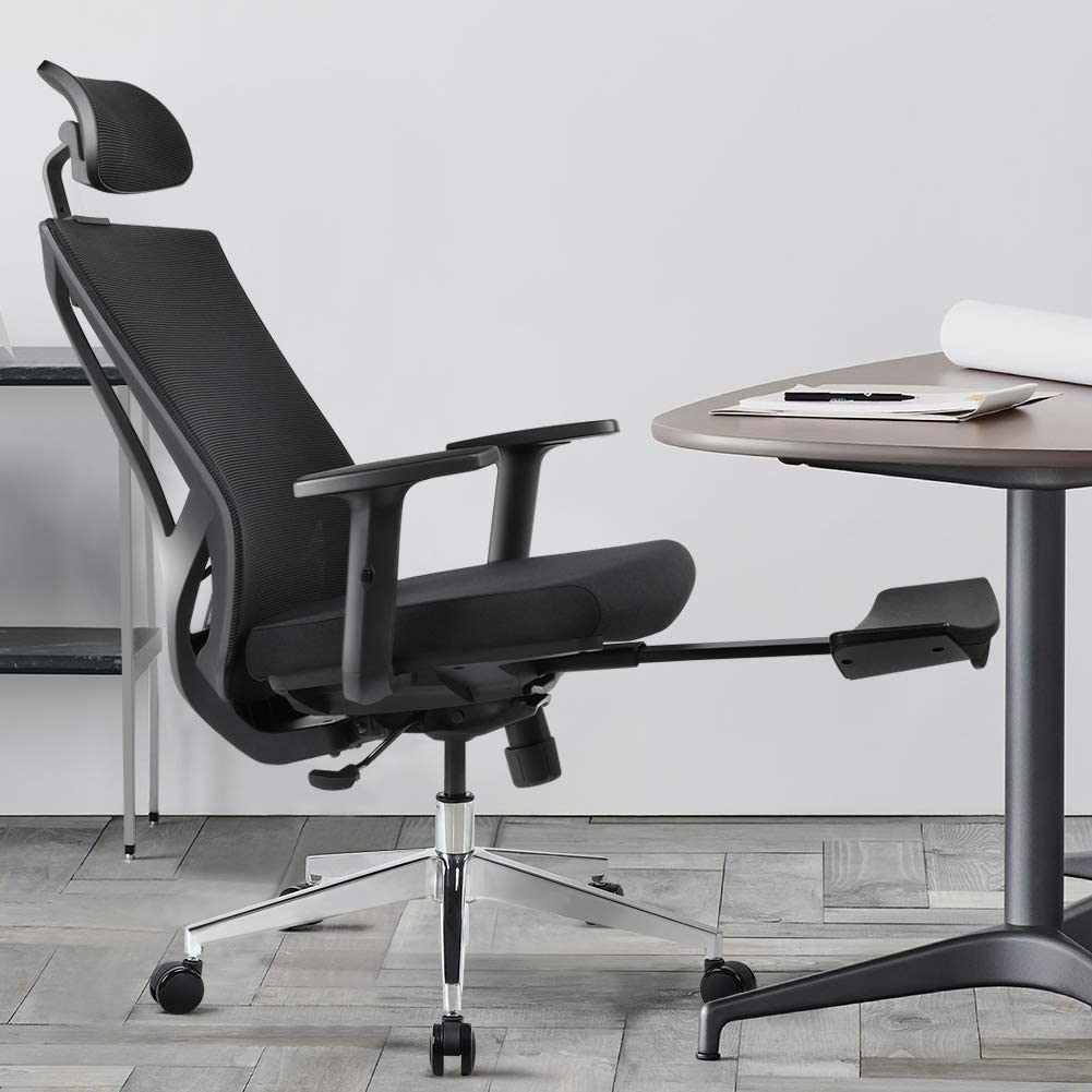 Ergonomic Office Desk Chair High Back Mesh Desk Chair with Height Adjustable and Head Support 3 Adjustable Tilt Tension - with Retractable Footrest