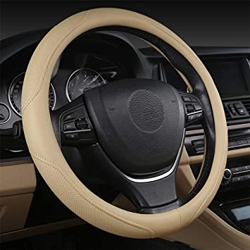 Breathable,Snug Grip,Fit Most Car,Warm in Winter Universal Size 14.5 15 15.5 Inches coofig Black Microfiber Leather Car Steering Wheel Cover,Durable Black//White