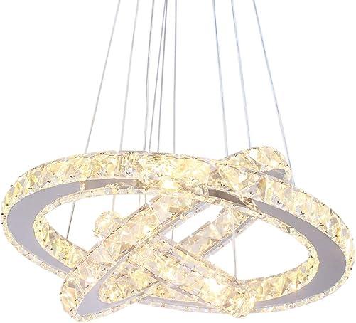 Winretro Modern DIY Crystal LED Chandelier Light Fixture 3 Rings Round Pendant Lighting Adjustable Stainless Steel Ceiling Hanging Lamp