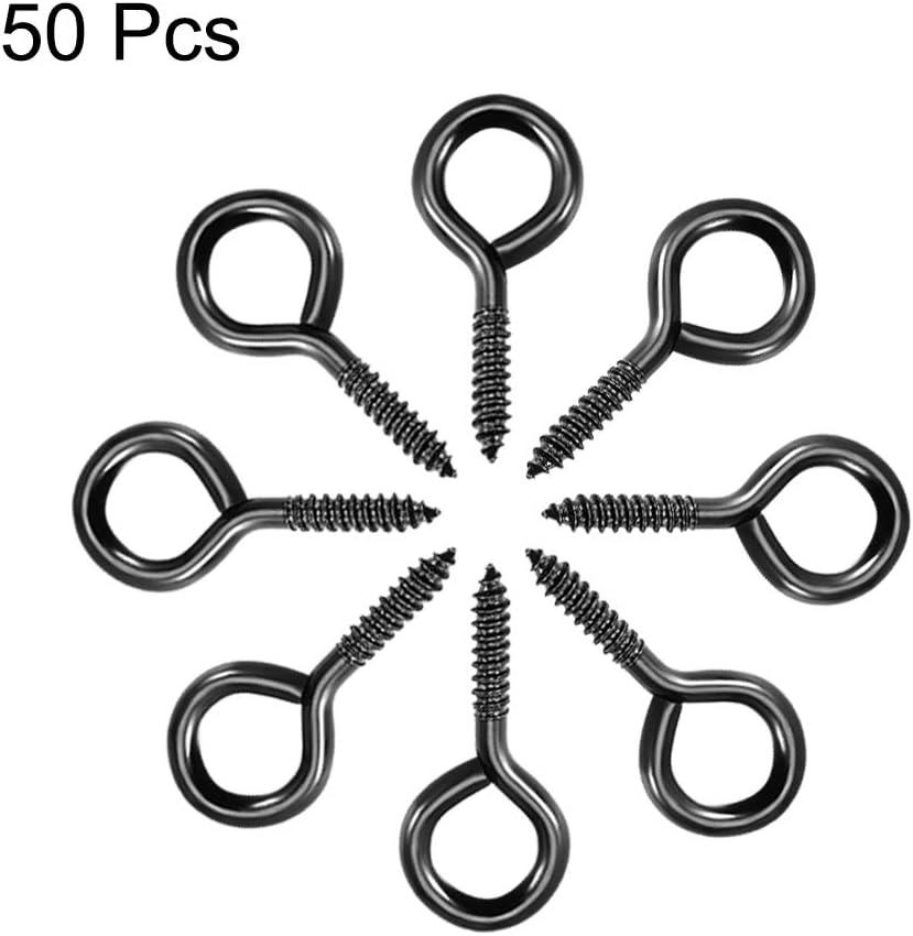 Sourcing map Lot de 50 crochets /à vis auto-taraudeuses Noir 1,9 cm
