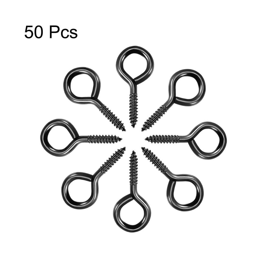 uxcell/® 0.39 Screw Eye Hooks Self Tapping Screws Screw-in Hanger Eye-Shape Ring Hooks Black 100pcs